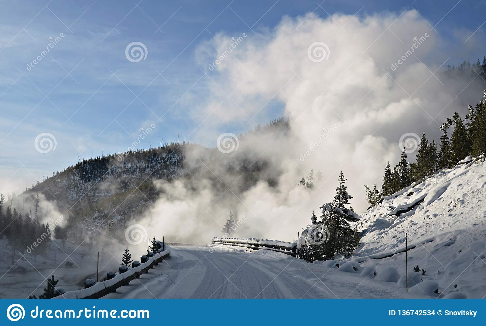 Winter At Yellowstone National Park Stock Photo Image Of