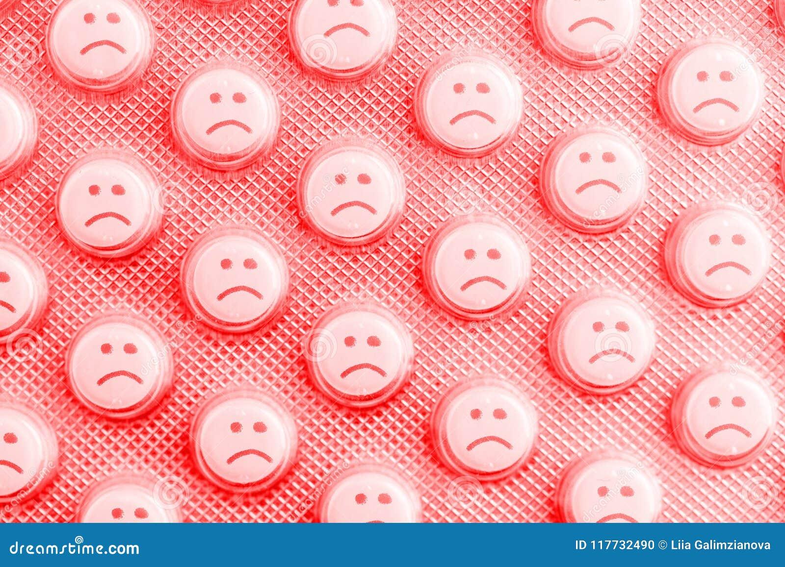Droevig gezicht van pillen