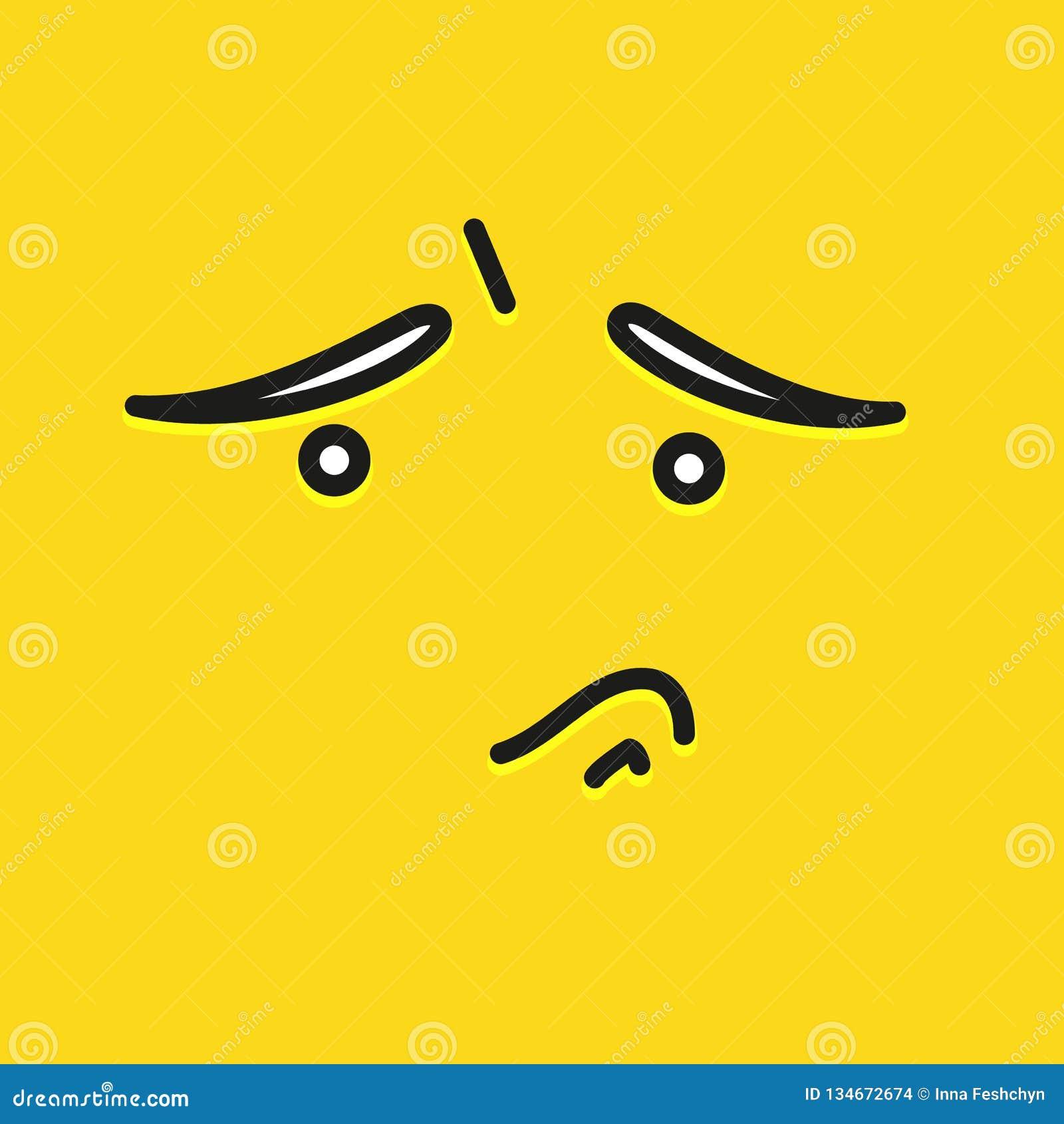 Droevig het malplaatjeontwerp van het glimlachpictogram Droevig emoticon vectorembleem op gele achtergrond De kunststijl van de g