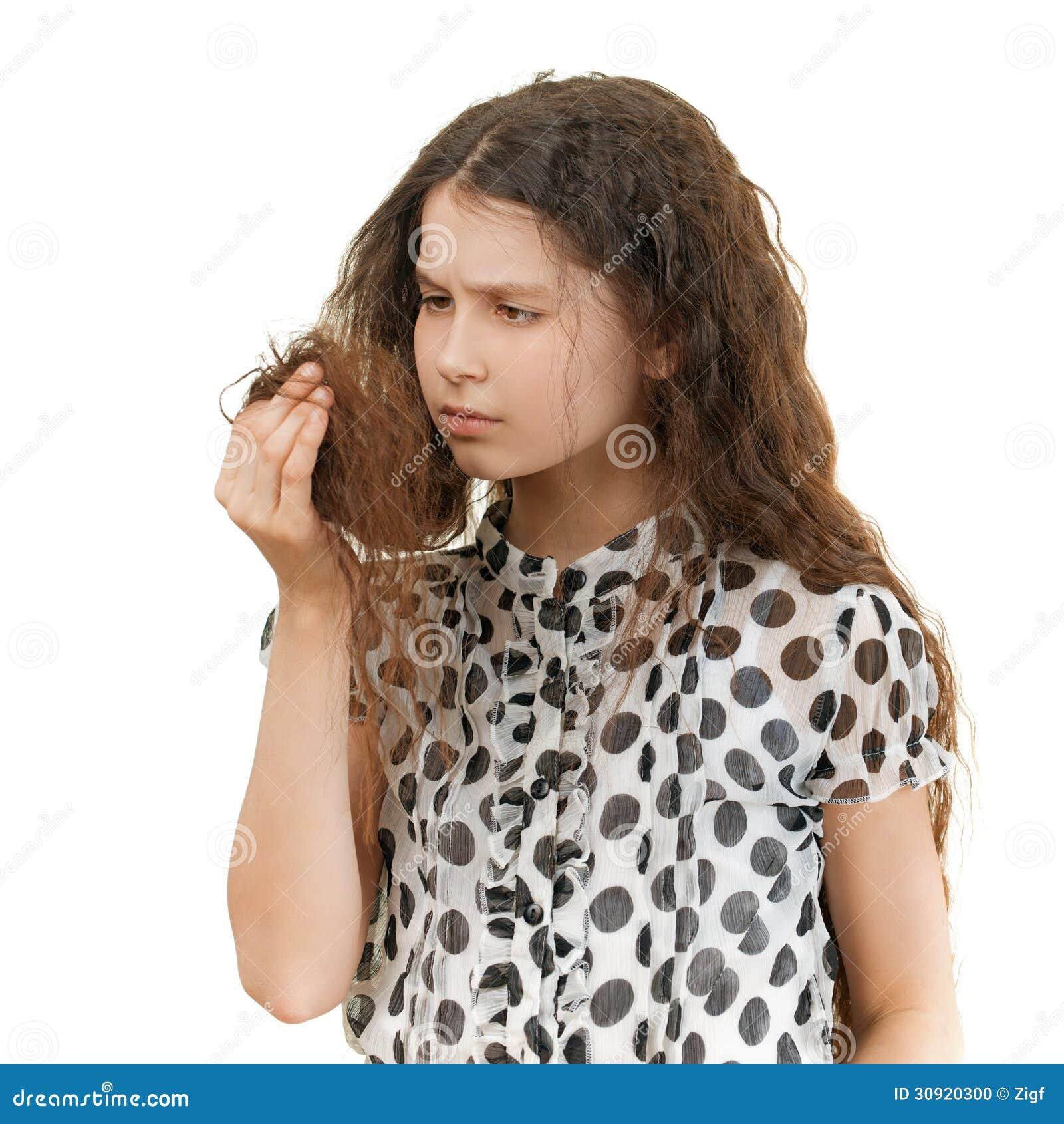 Droevig schoolmeisje ongelukkig met haar
