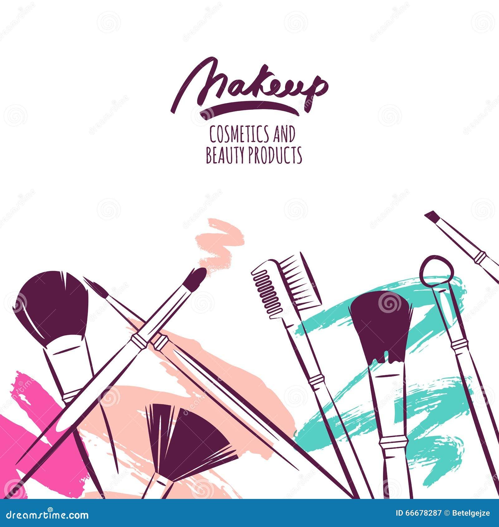 Drog illustrationen för vattenfärgen borstar handen av makeup på färgrik grungebakgrund