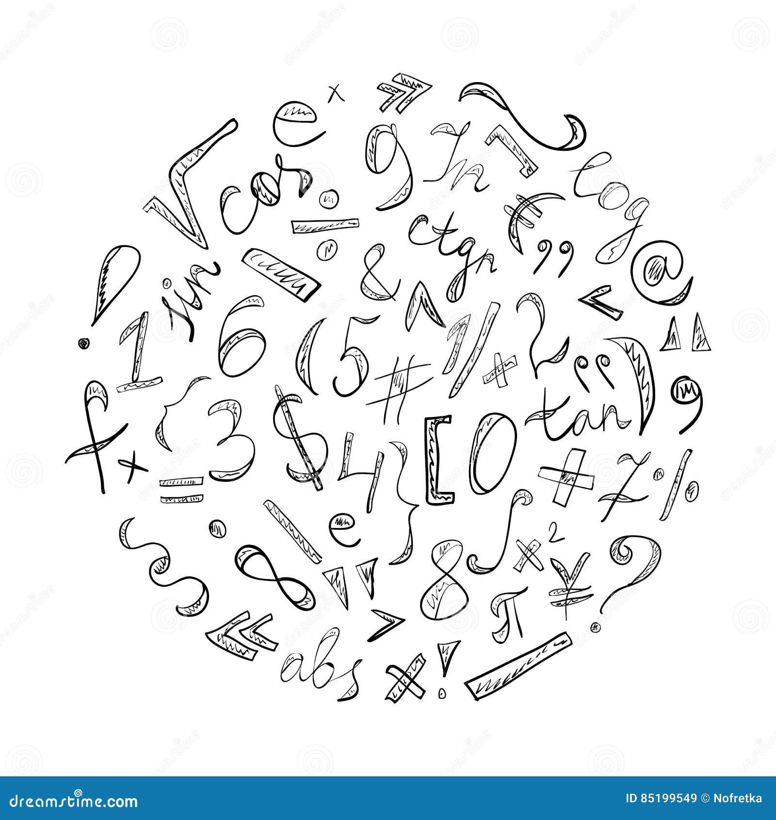Drog klottersymboler och nummer för svart hand Klottra tecken som är ordnat i en cirkel