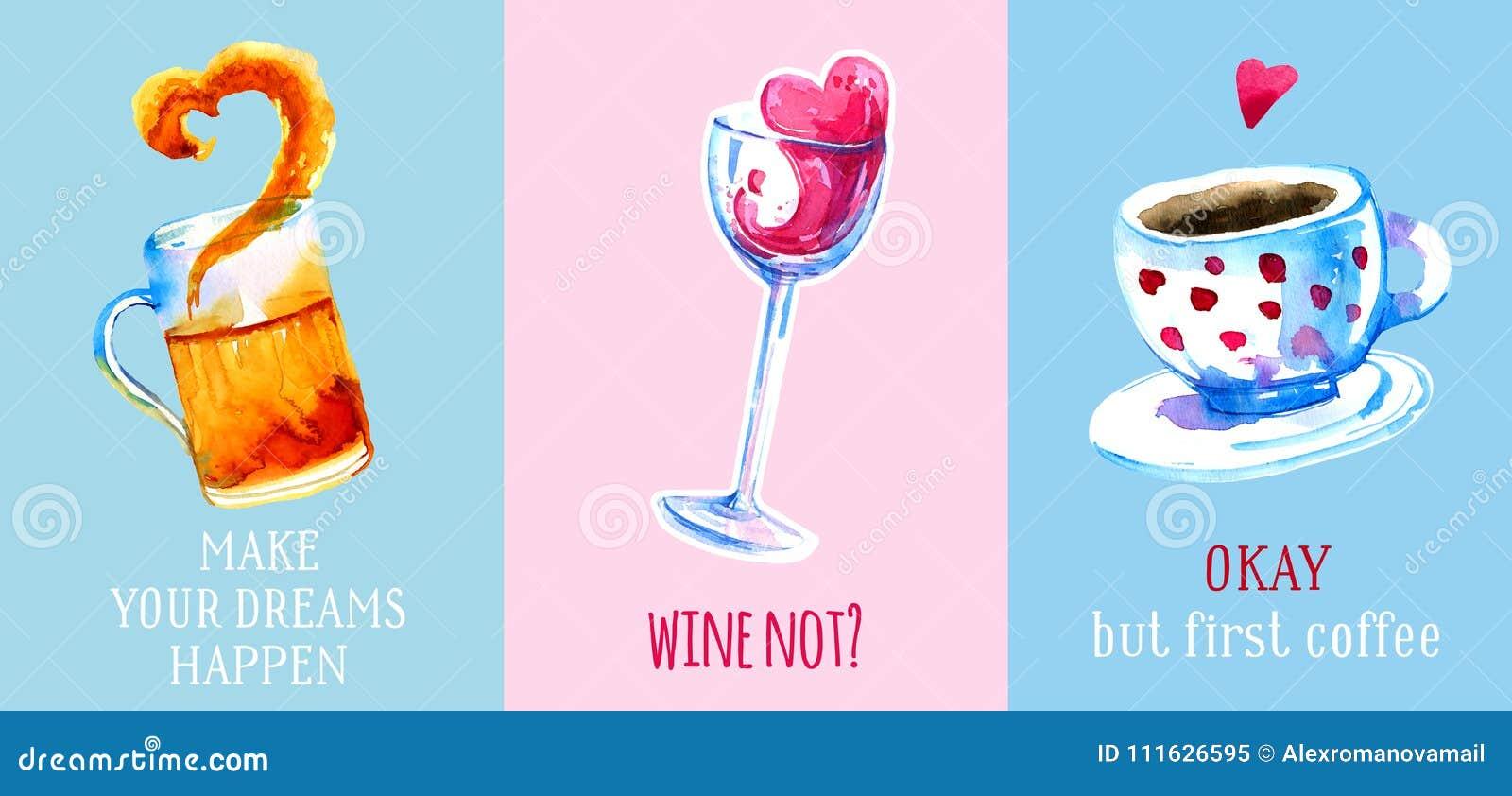 Drog vattenfärgen in för vin, för öl och för kaffe ställde handen för affischer och kort på färgrika bakgrunder
