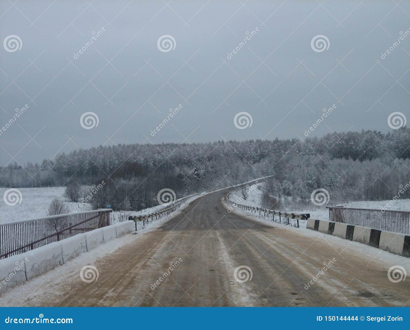 Droga most nad rzeką w lasowej krawędzi w zimie na szarym chmurnym dniu