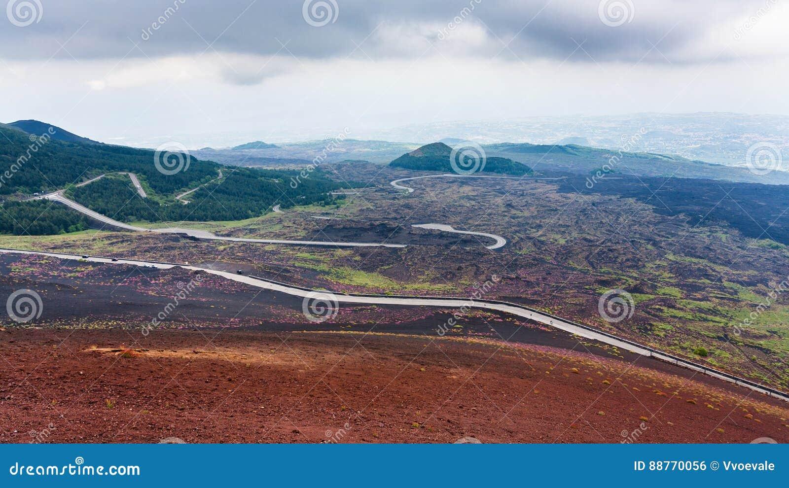 Droga w wzmacniających lawowych polach na górze Etna