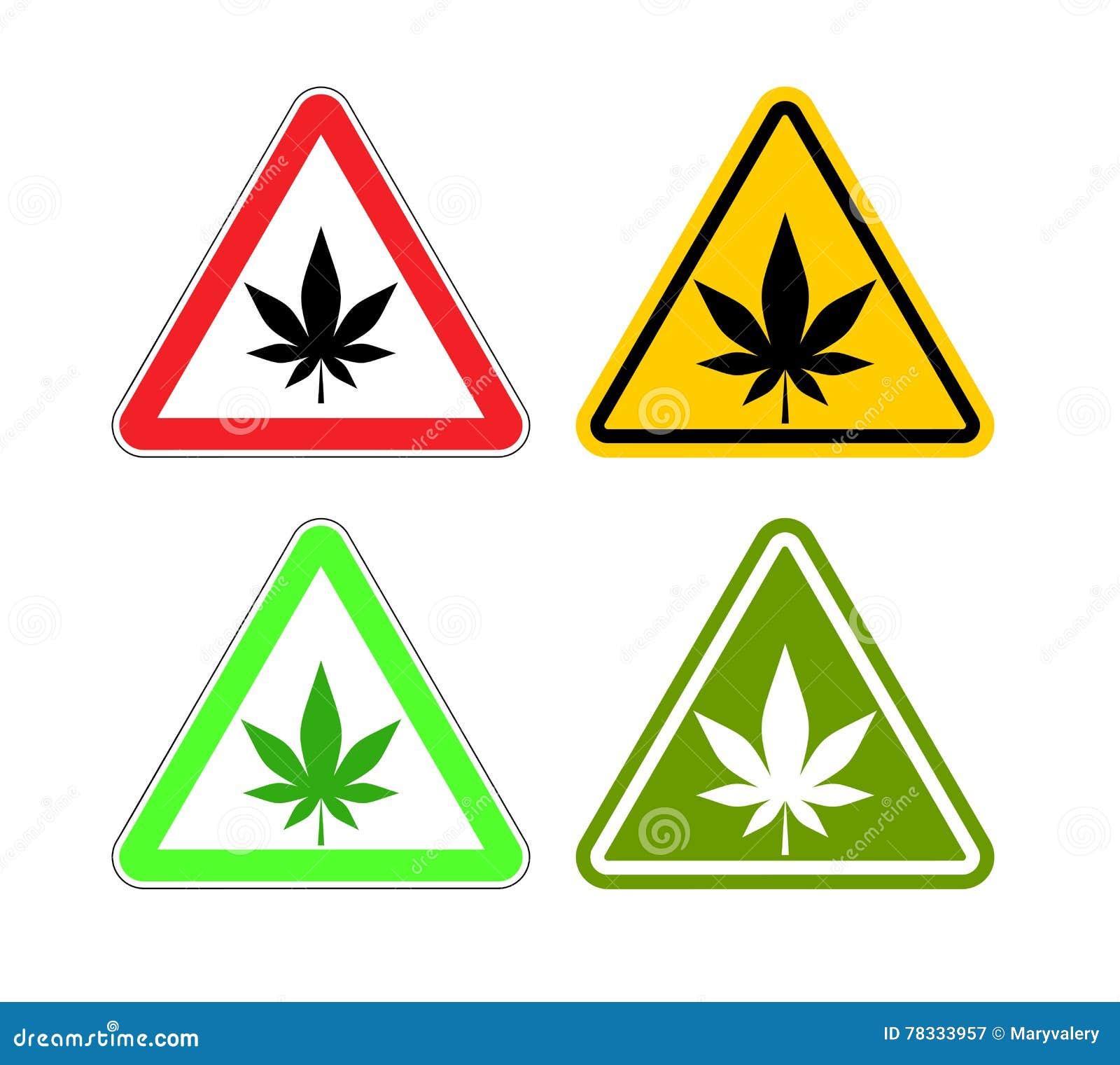Drogas da atenção do sinal de aviso Perigos da marijuana e do si amarelo