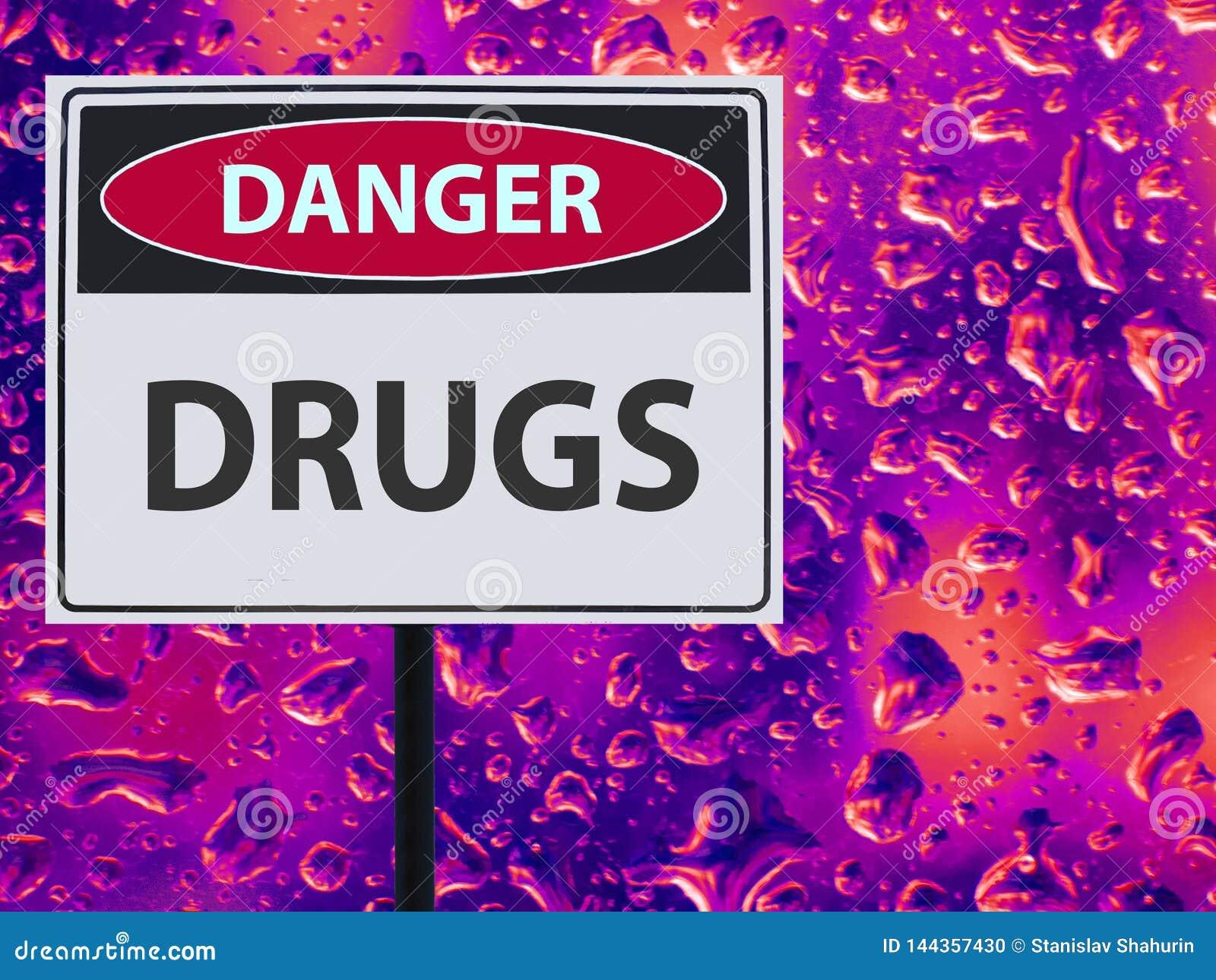 Drogas del peligro de la muestra y descenso de neón sobre el vidrio