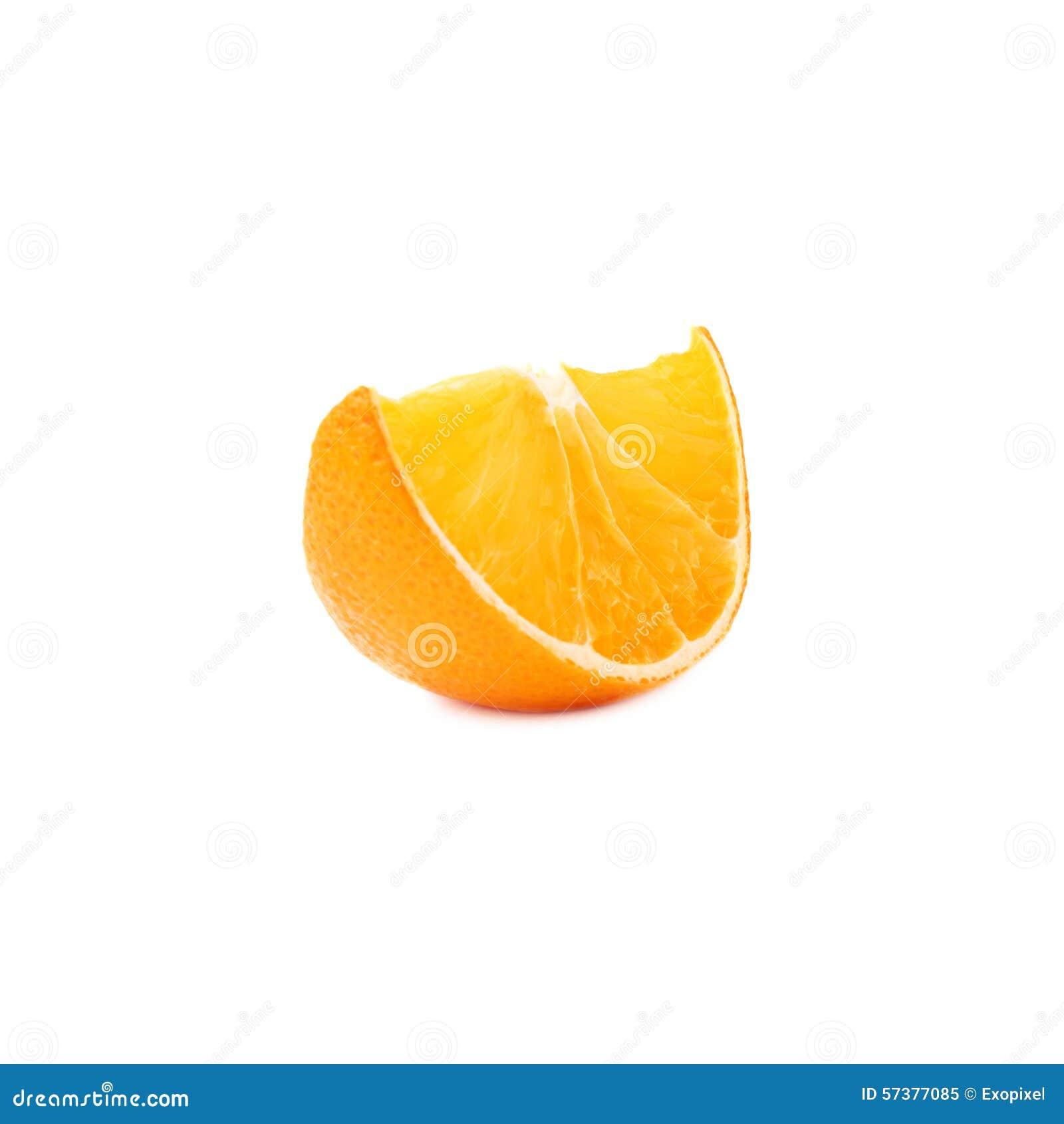 Droge die plaksectie van sinaasappel over wordt geïsoleerd