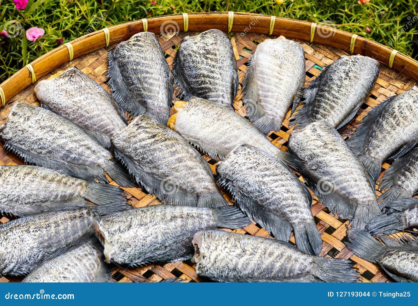 Droge vissen op bamboemand