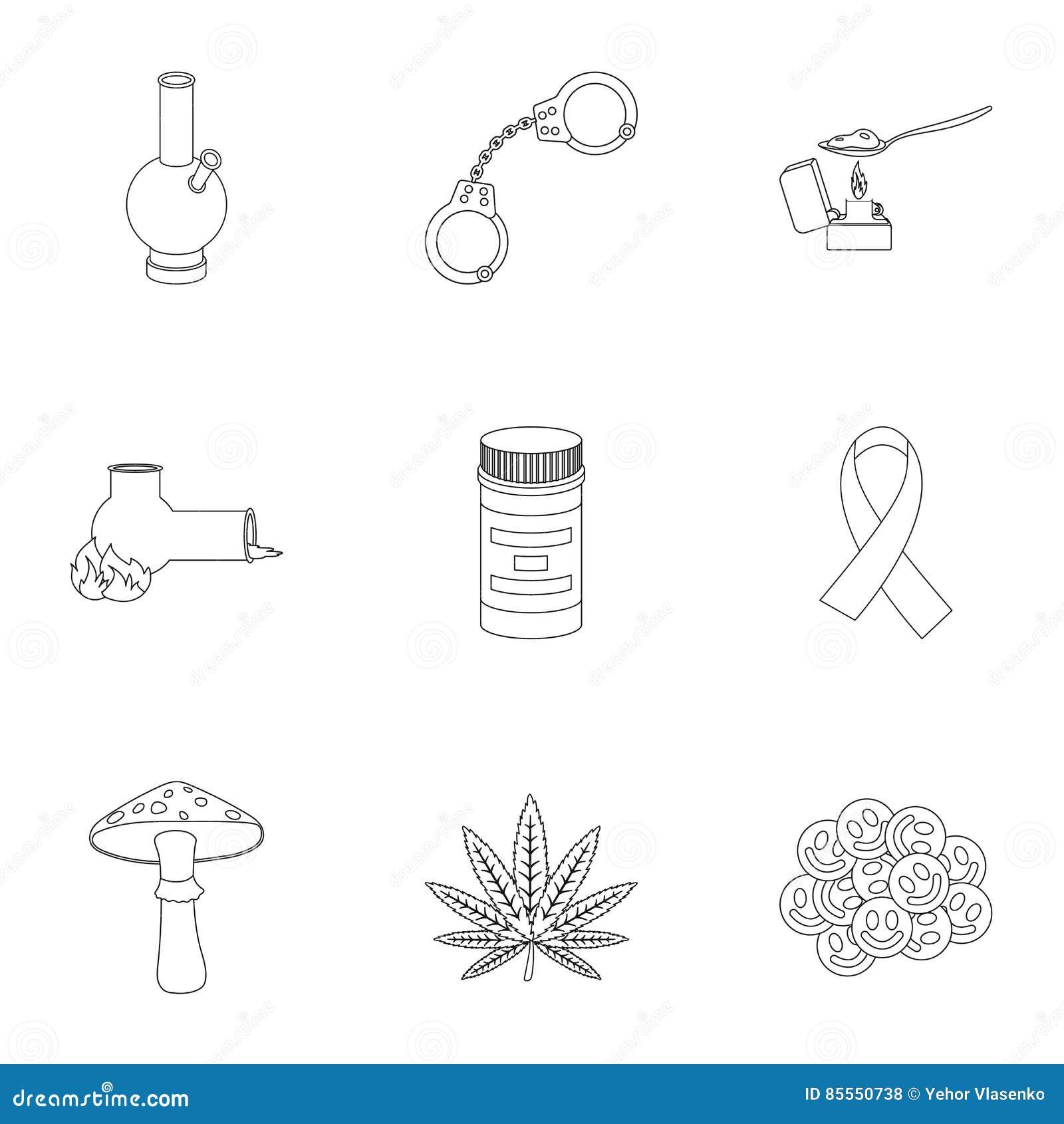 Drogen stellten Ikonen in der Entwurfsart ein Große Sammlung der Drogenillustration