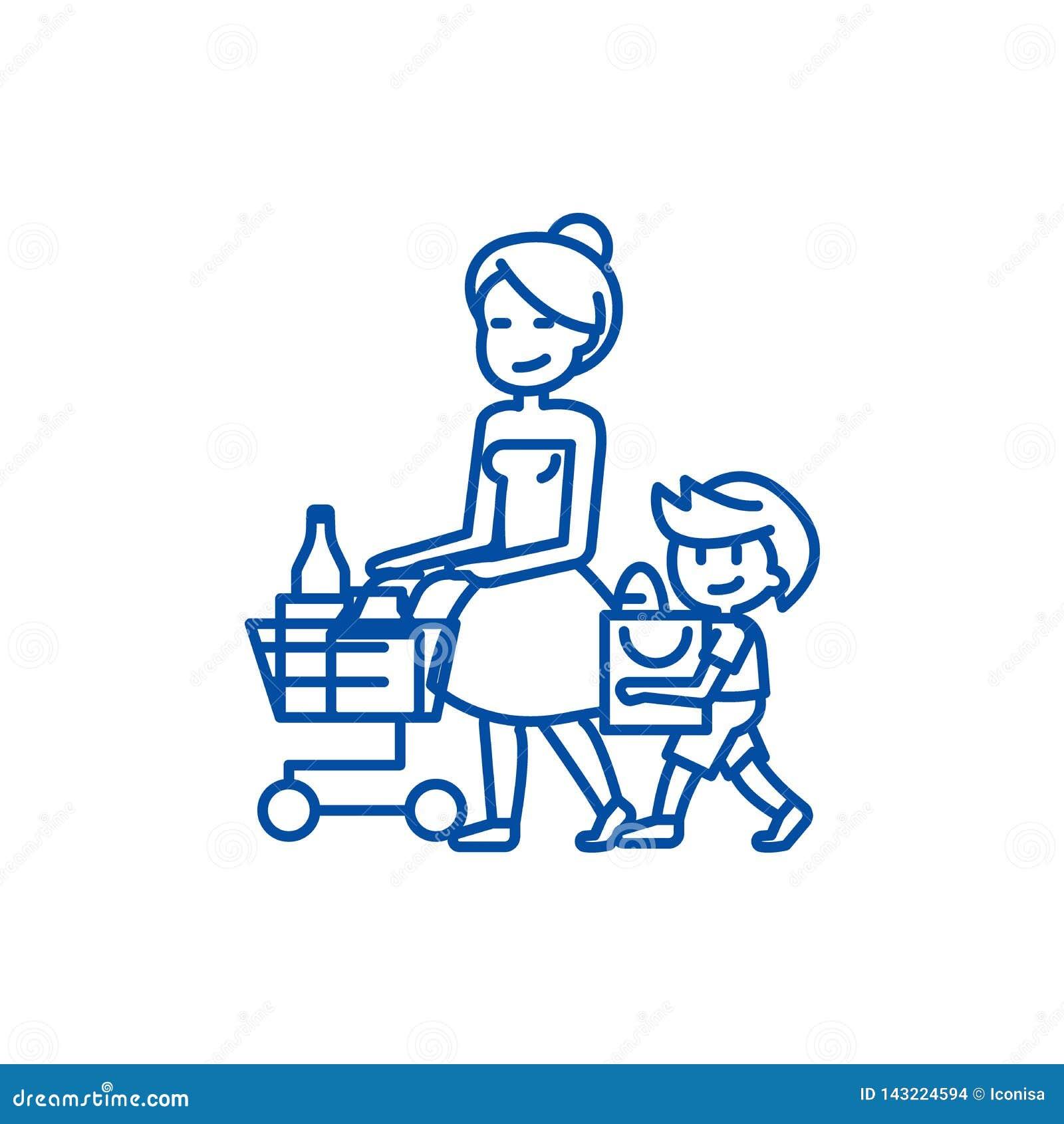 Drogheria di acquisto, madre con la linea concetto del figlio dell icona Drogheria di acquisto, madre con il simbolo piano di vet