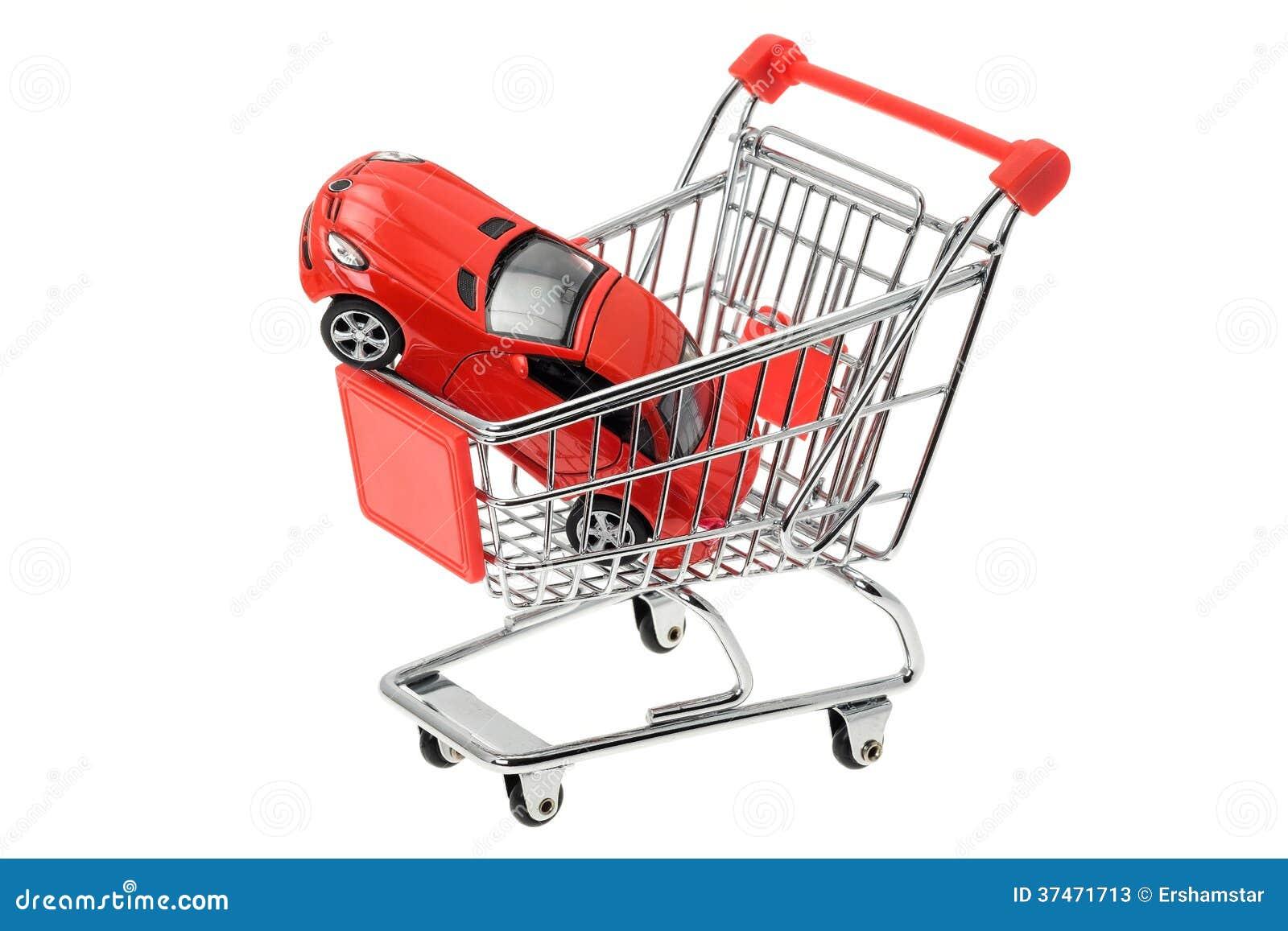 Drogi sporta samochód w wózek na zakupy