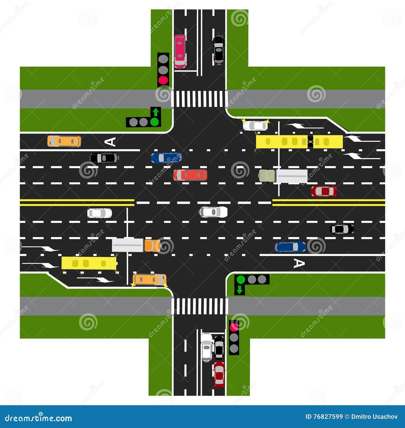 Drogowy infographics Autostrada przecina z drogą Z światłami ruchu i samochodami Zielony sygnał główna droga