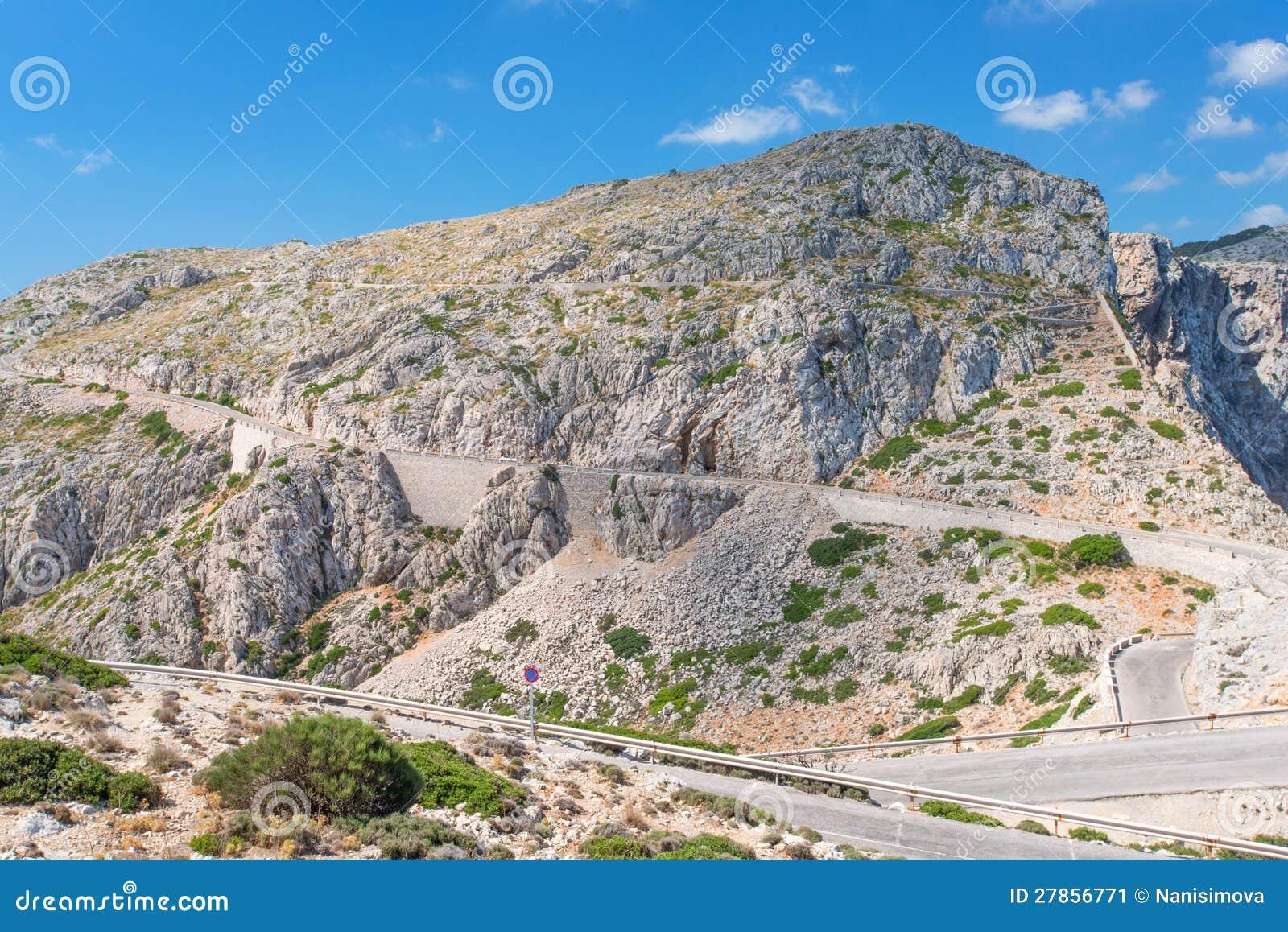 Drogowy pobliski przylądek Formentor w górach