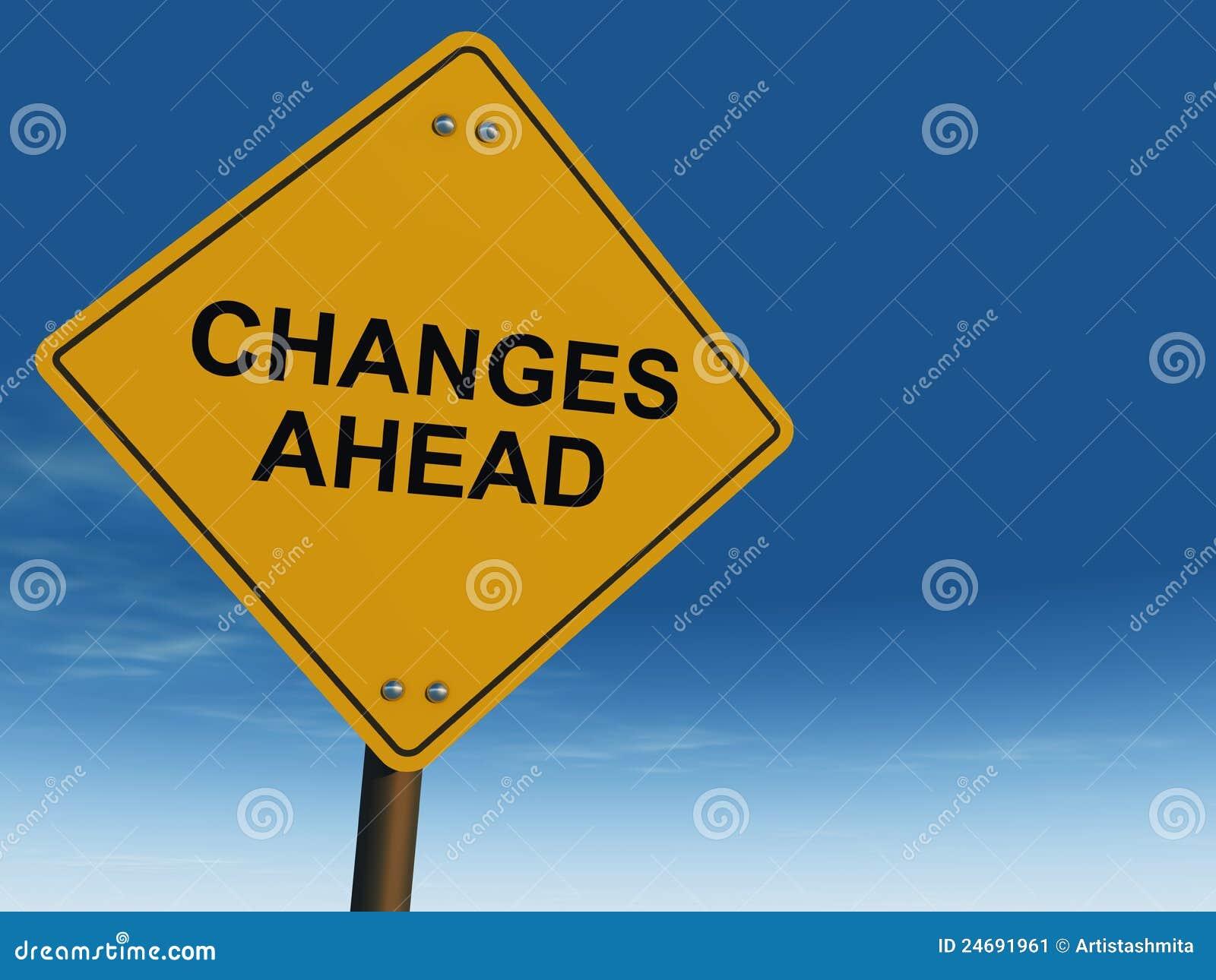 Drogowy zmiana naprzód znak