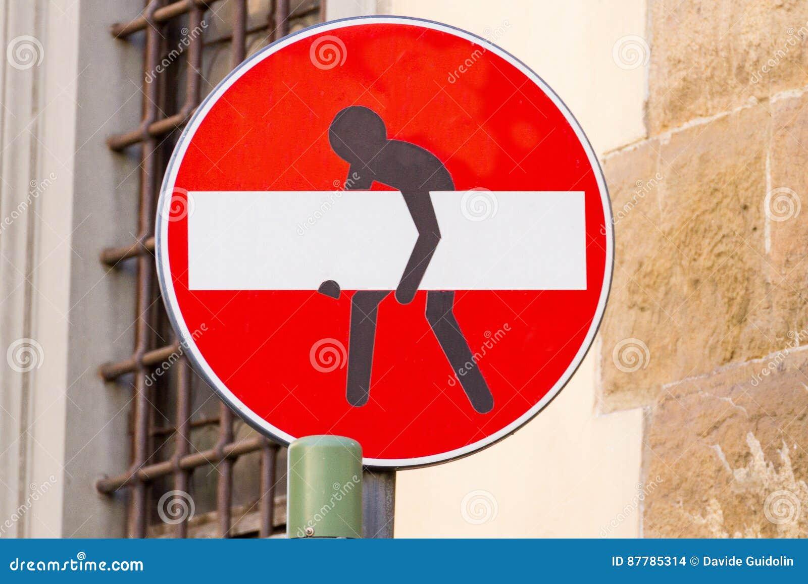 Drogowy znak, uliczna sztuka