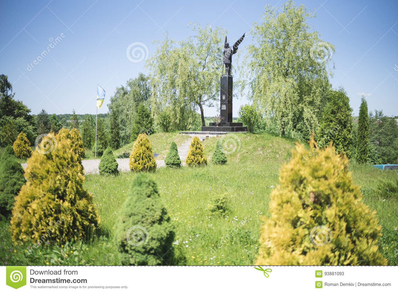 Drohobych, Western Ukraine - June 3, 2017: Monument of Fame to the fighters for freedom of Ukraine