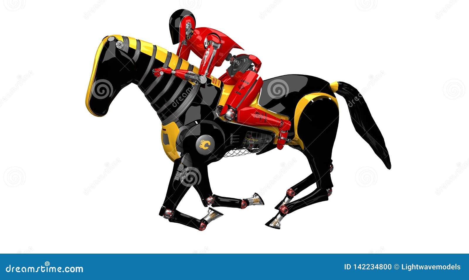 Droid骑马在白色背景的机器人马