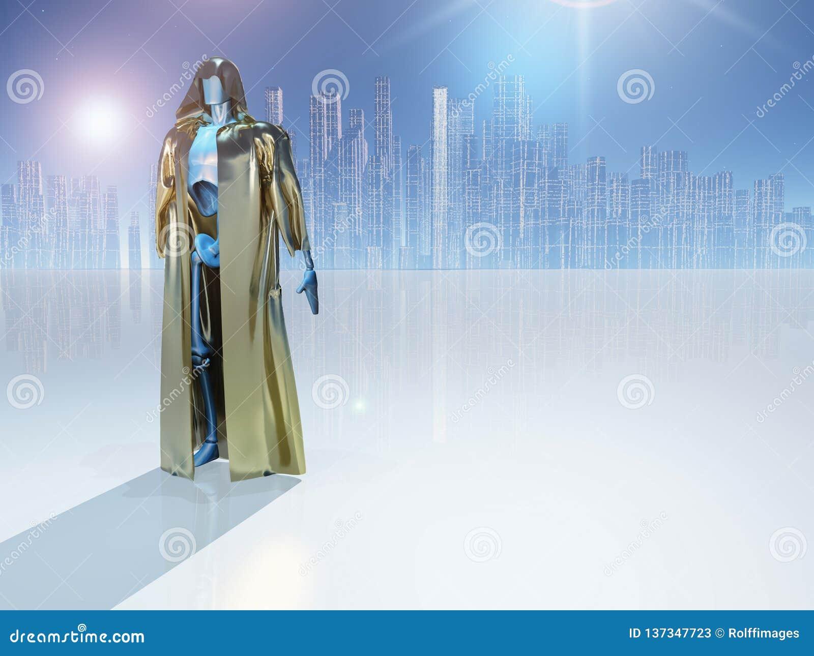 Droid dans la robe longue d or