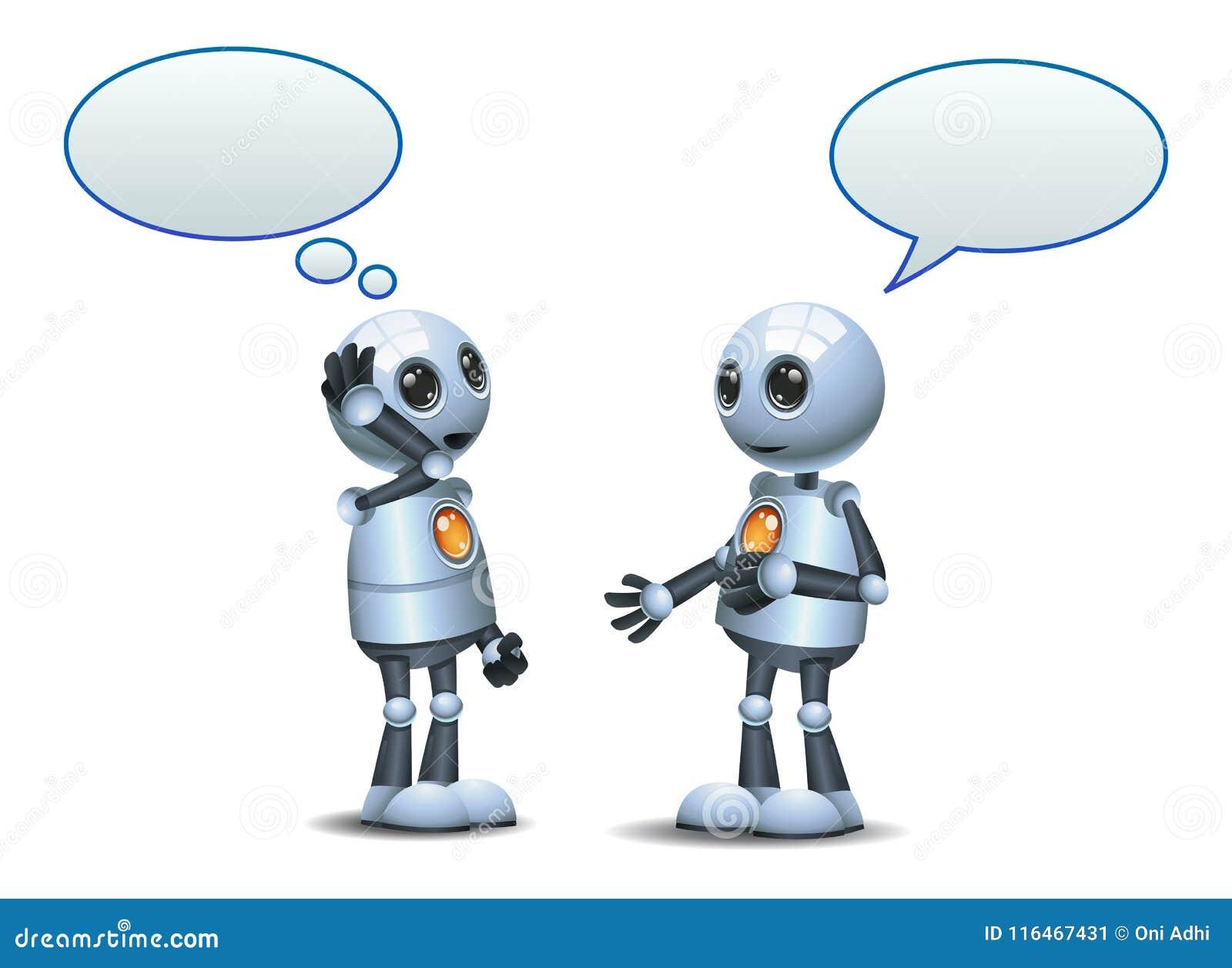 Droid felice due poca conversazione del robot su bianco isolato