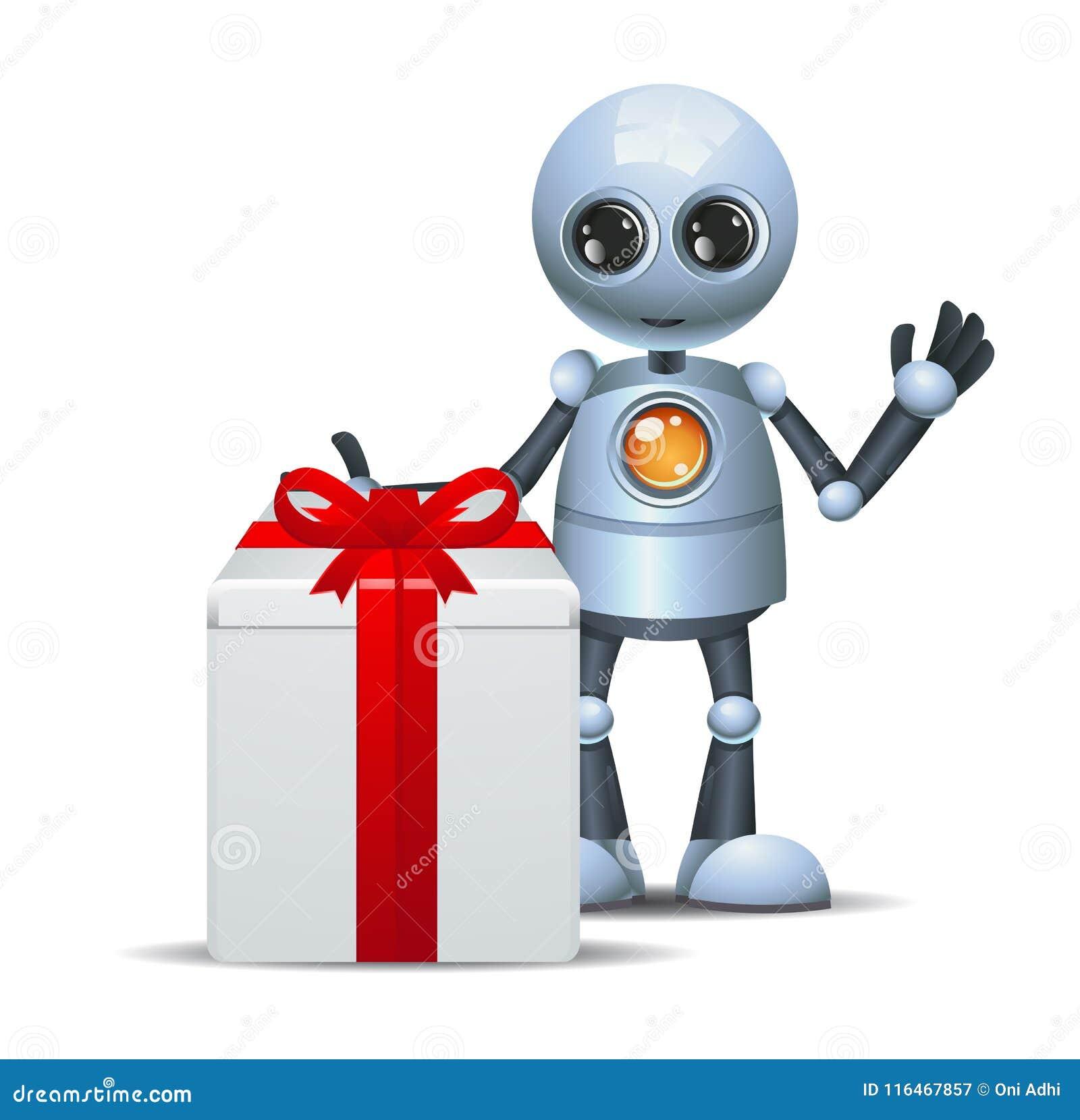 Droid heureux peu de cadeau d anniversaire de robot sur le blanc d isolement
