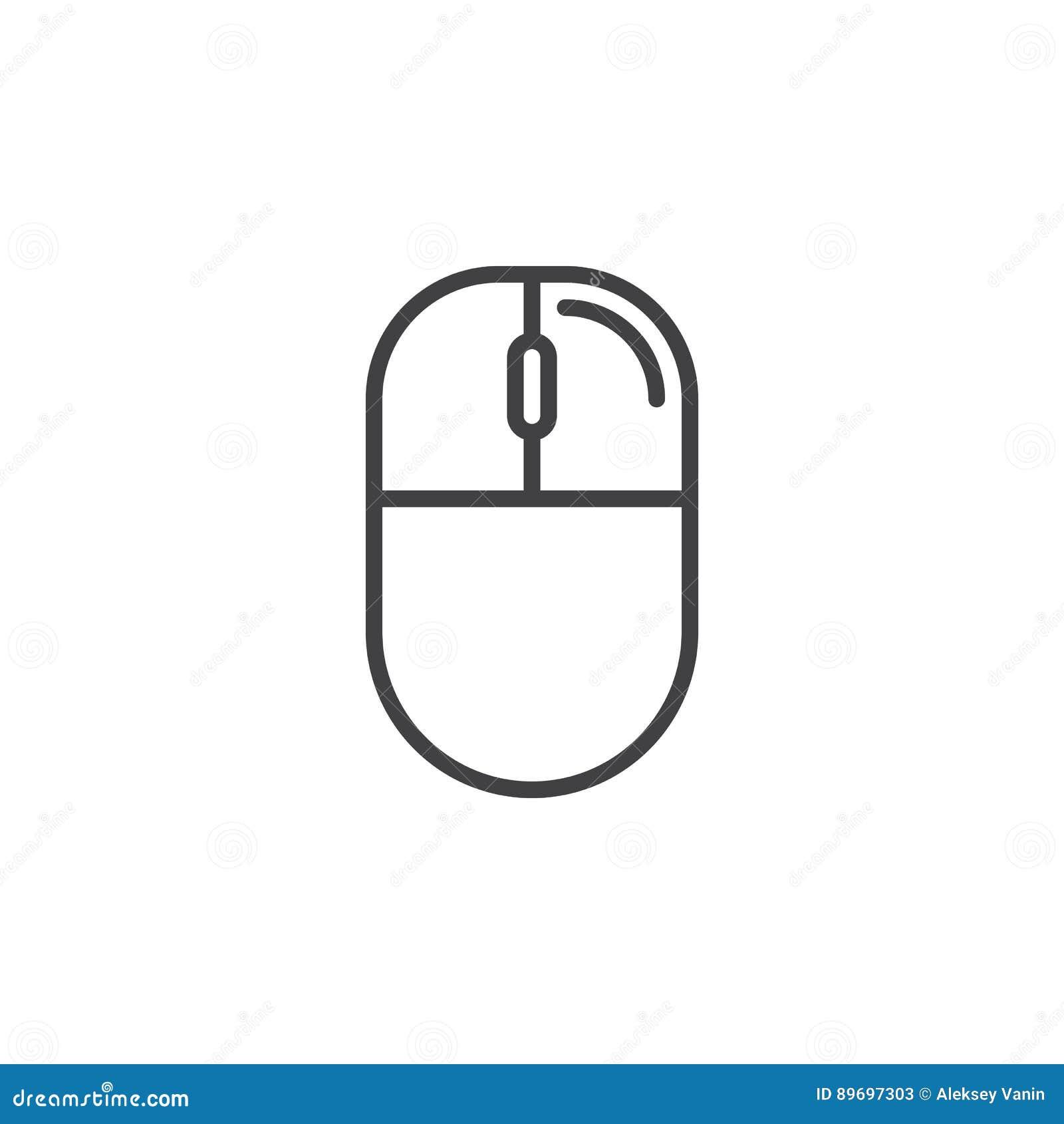 Droite de souris d ordinateur - ligne icône de clic