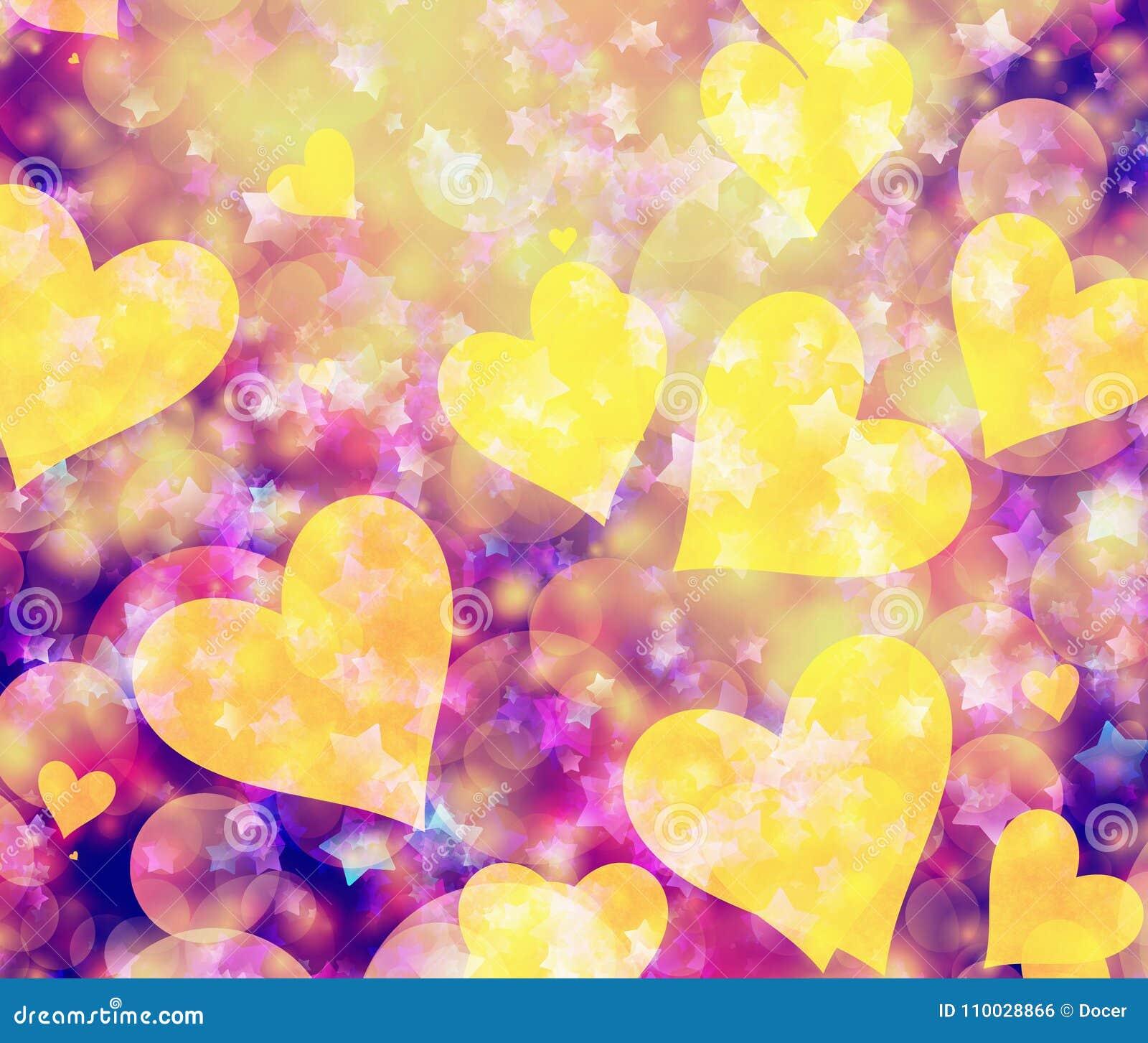 Dromerige lichte harten en sterrenachtergronden