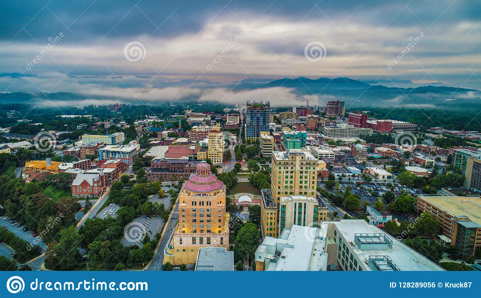 Drone Aerial of Downtown Asheville North Carolina Skyline