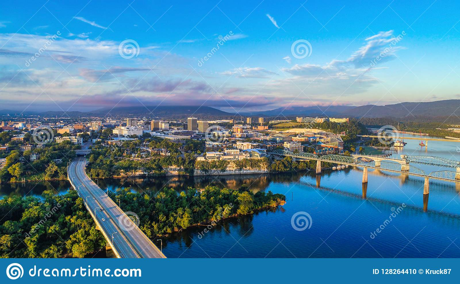 Downtown Chattanooga Tennessee Skyline Stock Photo - Image