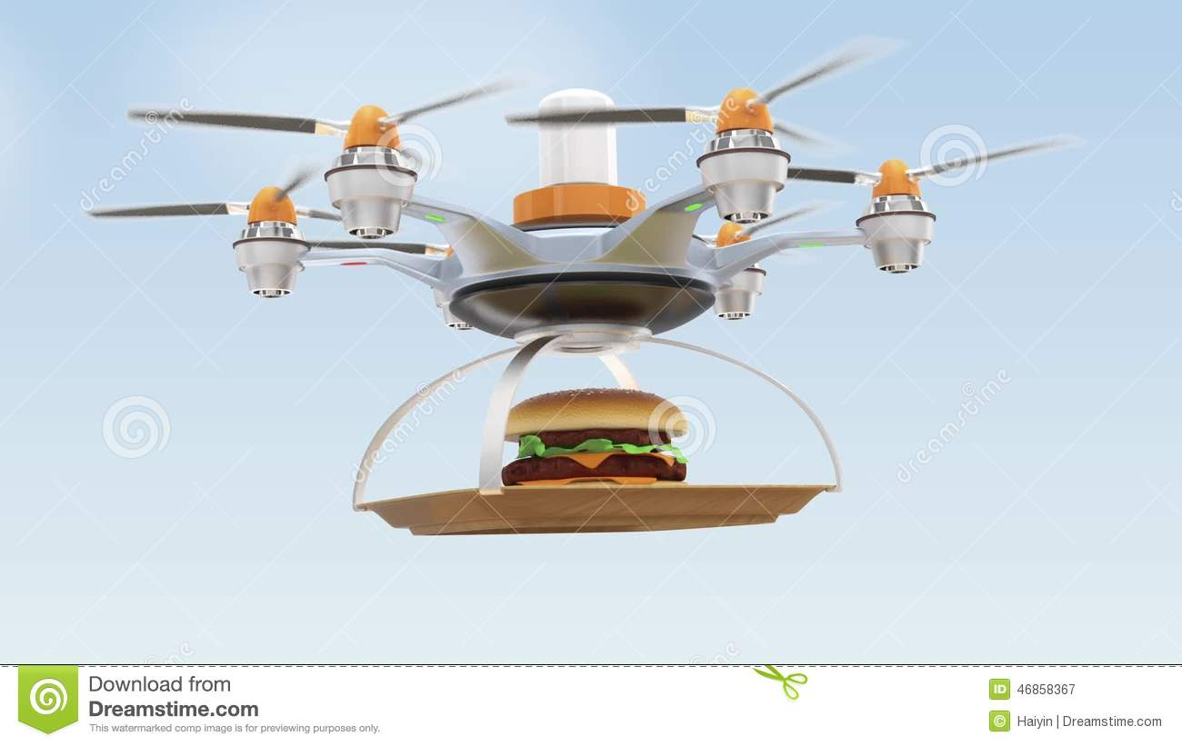 Drone Carrying Hamburger For Fast Food Delivery Concept Stock Video
