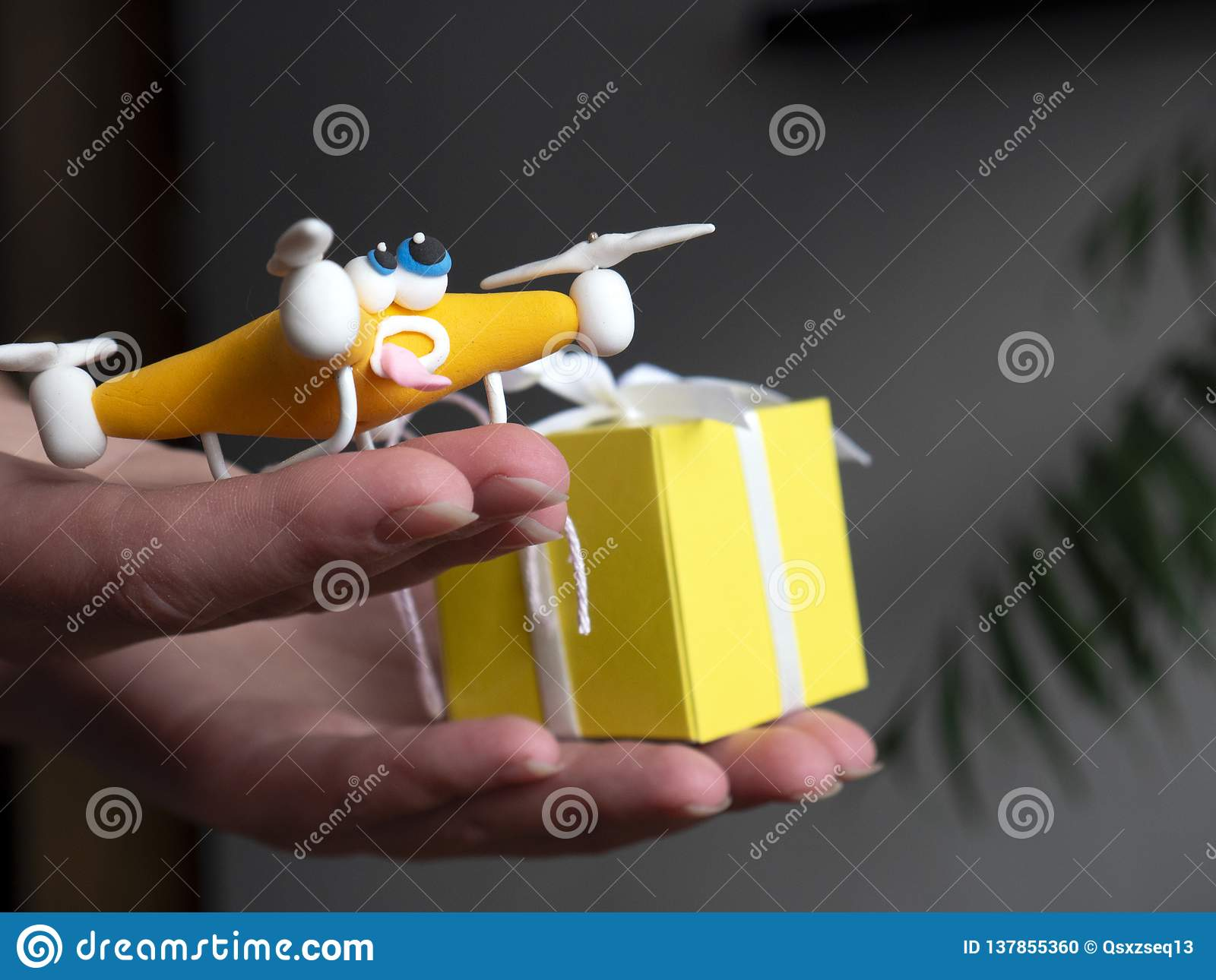 The drone Close up of quadrocopter with the parcel. tired