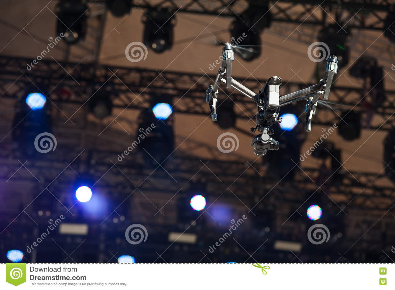 Drone flies over stage