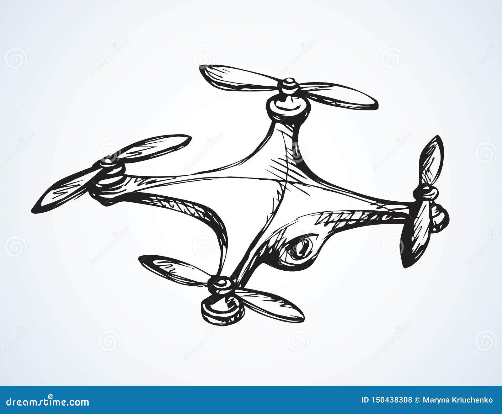 Drone In Flight Vector Drawing Stock Vector Illustration