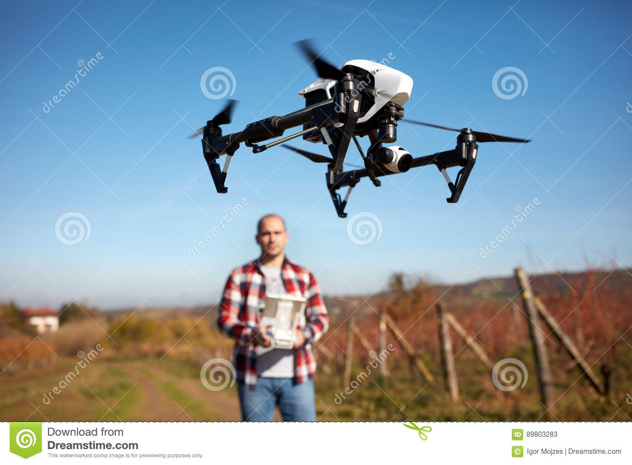 Drone hovering over vineyard