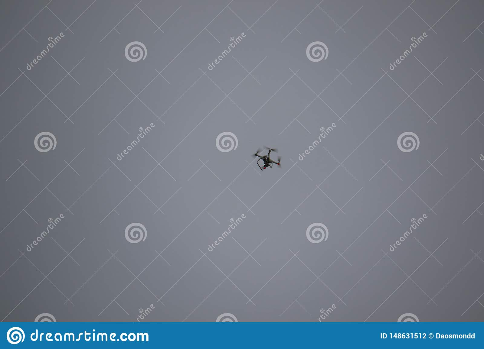 A drone hovering in the sky