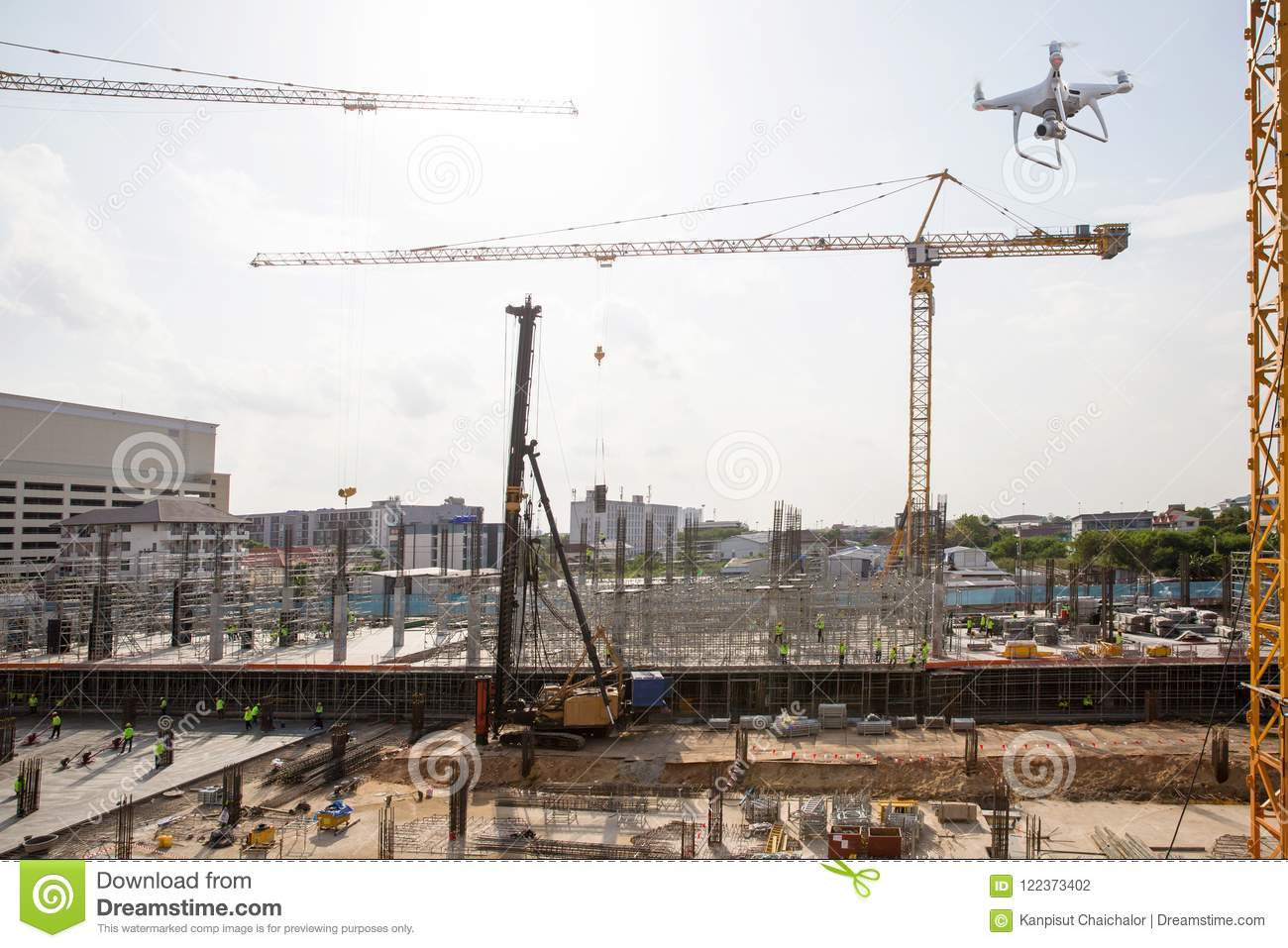 Drone Over Construction Site  Video Surveillance Or Industrial