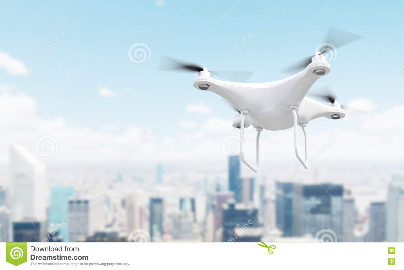 Drone over Singapore stock illustration  Illustration of composite