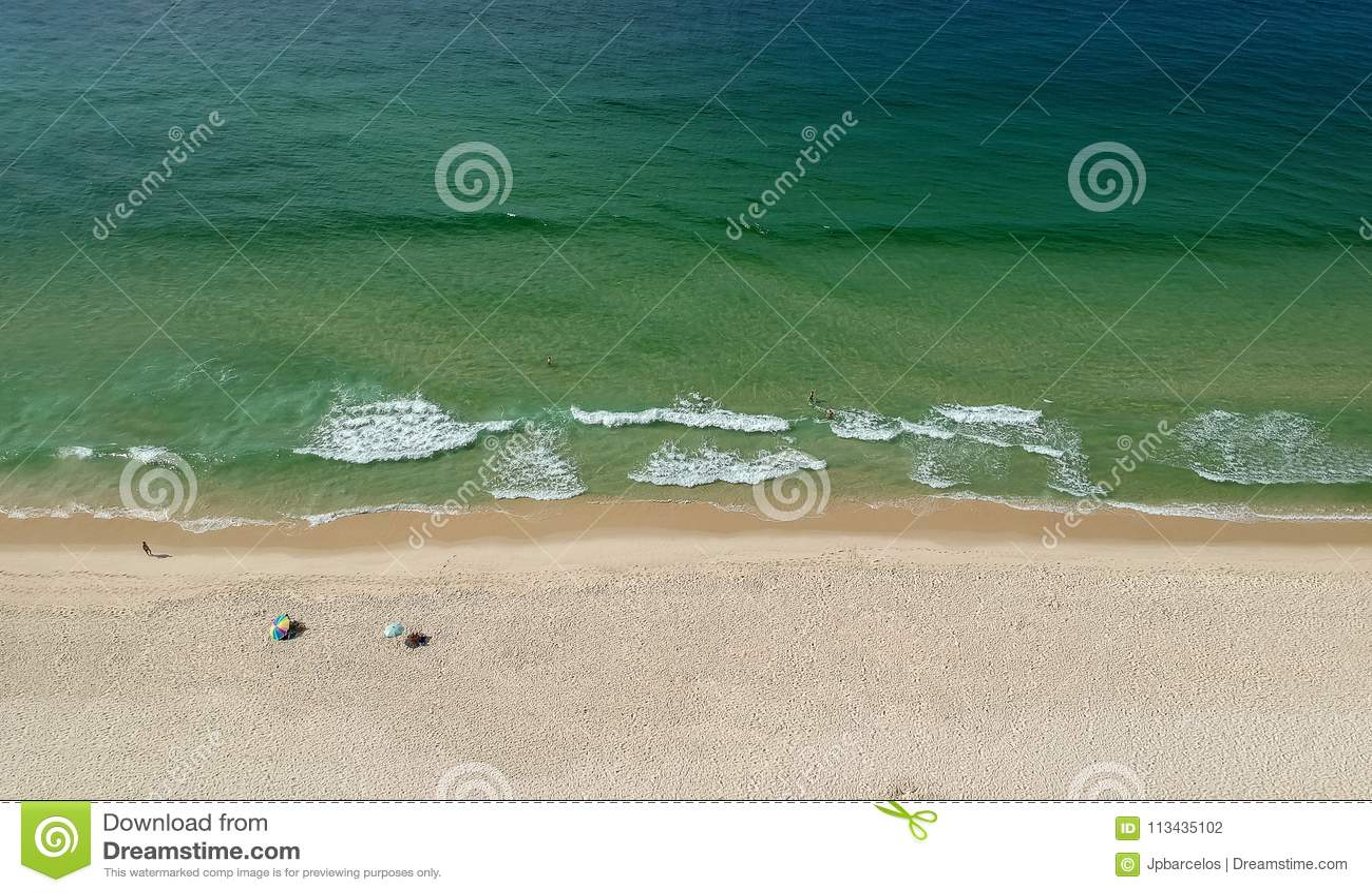 Drone panorama of Barra da Tijuca beach, Rio de Janeiro, Brazil.