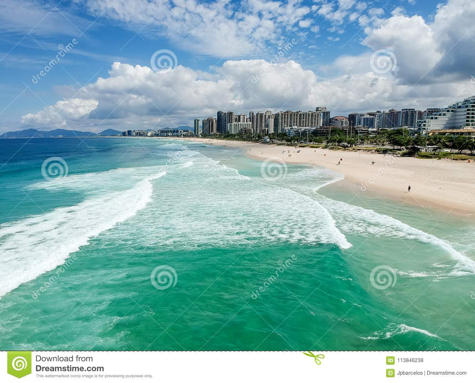Drone photo of Barra da Tijuca beach, Rio de Janeiro, Brazil.