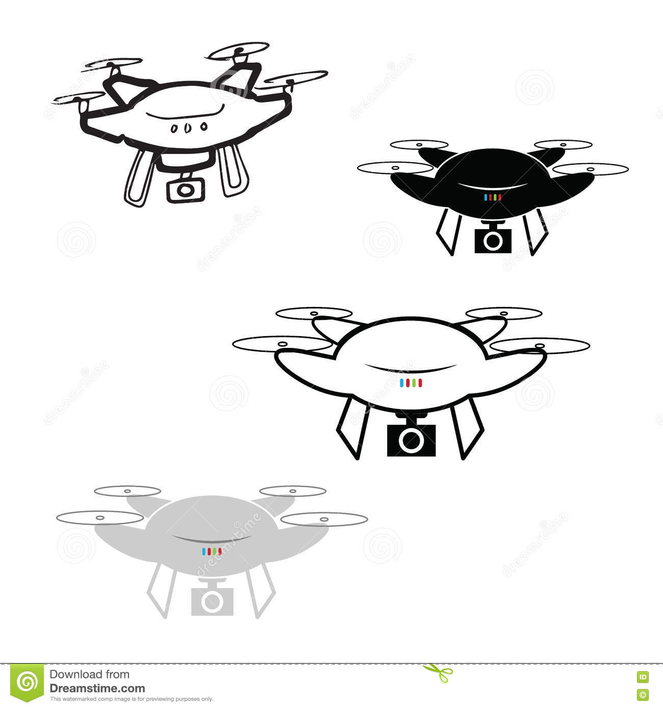 Drone Quadcopter With Camera Icons