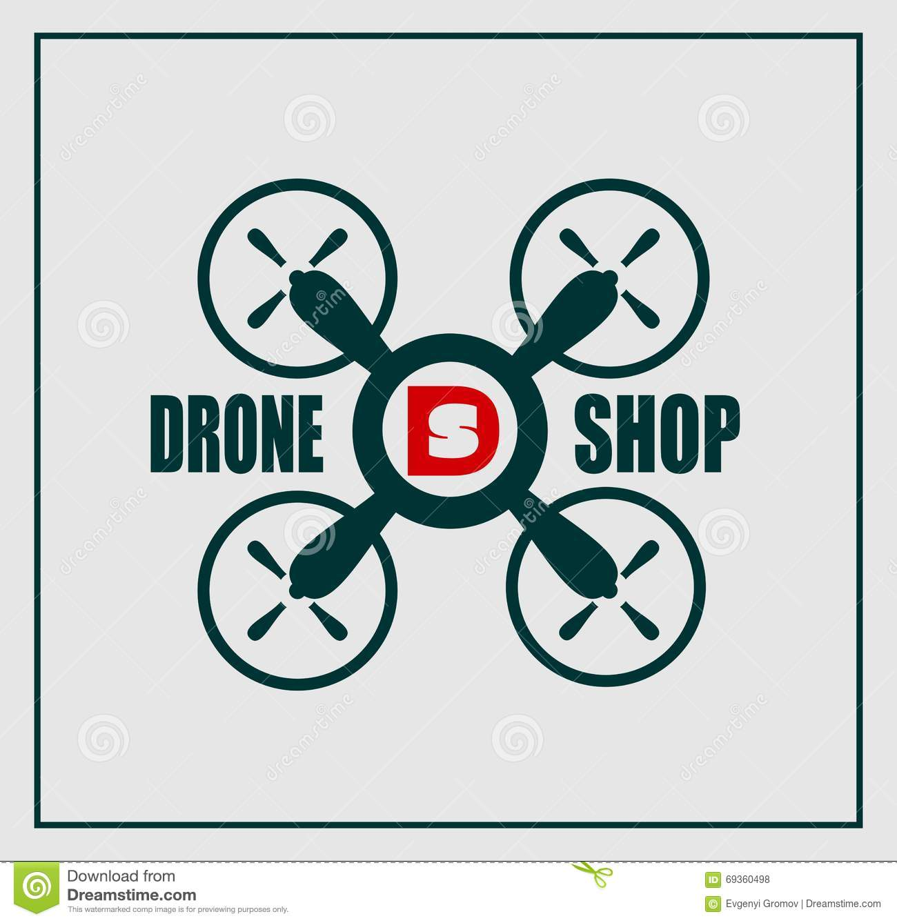 Drone Logo Flat Design Icon Vector Isolated Cartoon Vector ...