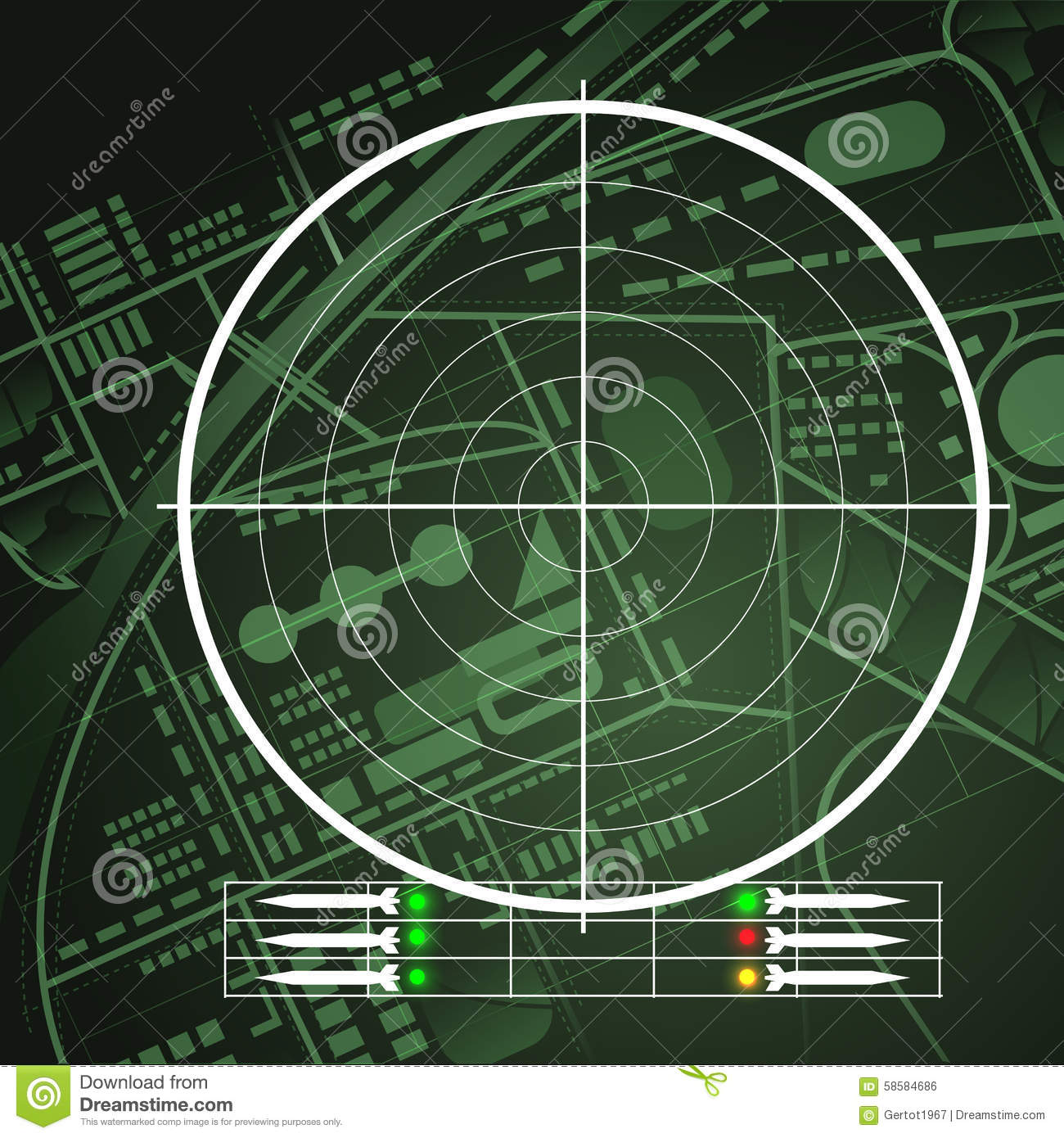 Drone Radar Screen Stock Vector Image Of Aircraft Navy