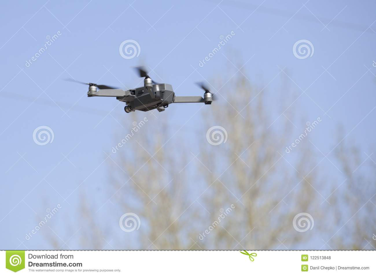 Download Drone On Sky Background. Radio-controlled Quadrocopter Is Filmin Stock Photo - Image of copter, flying: 122513848