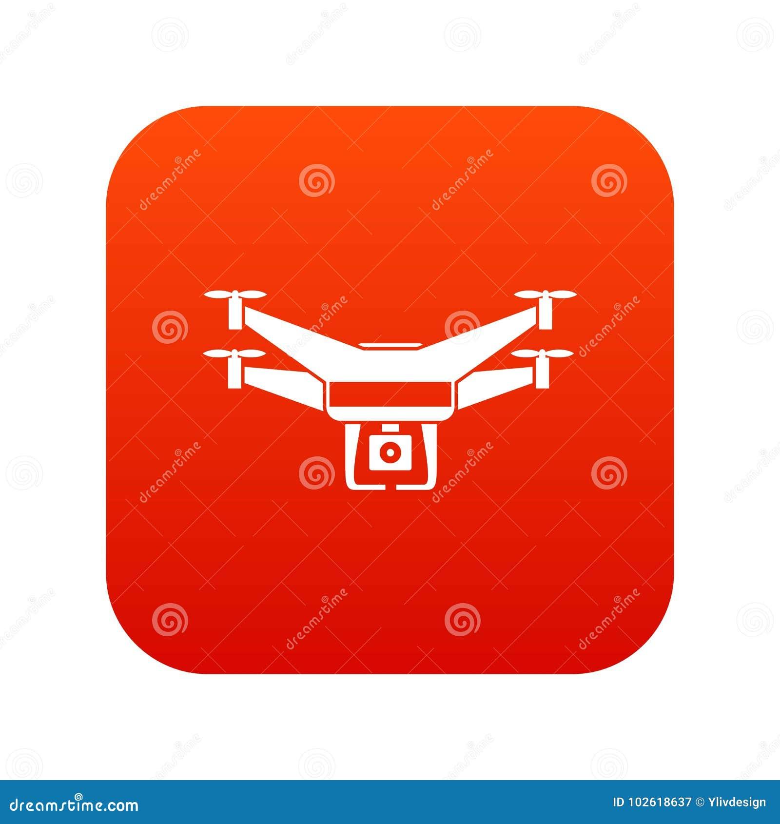 Drone video camera icon digital red