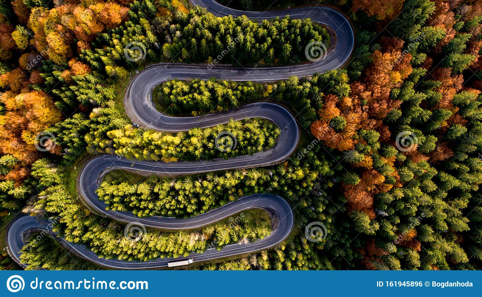 Drone View Aerial View Of Autumn Forest Road Top View Of Beautiful Asphalt Roadway Stock Photo Image Of Mountain Orange 161945896