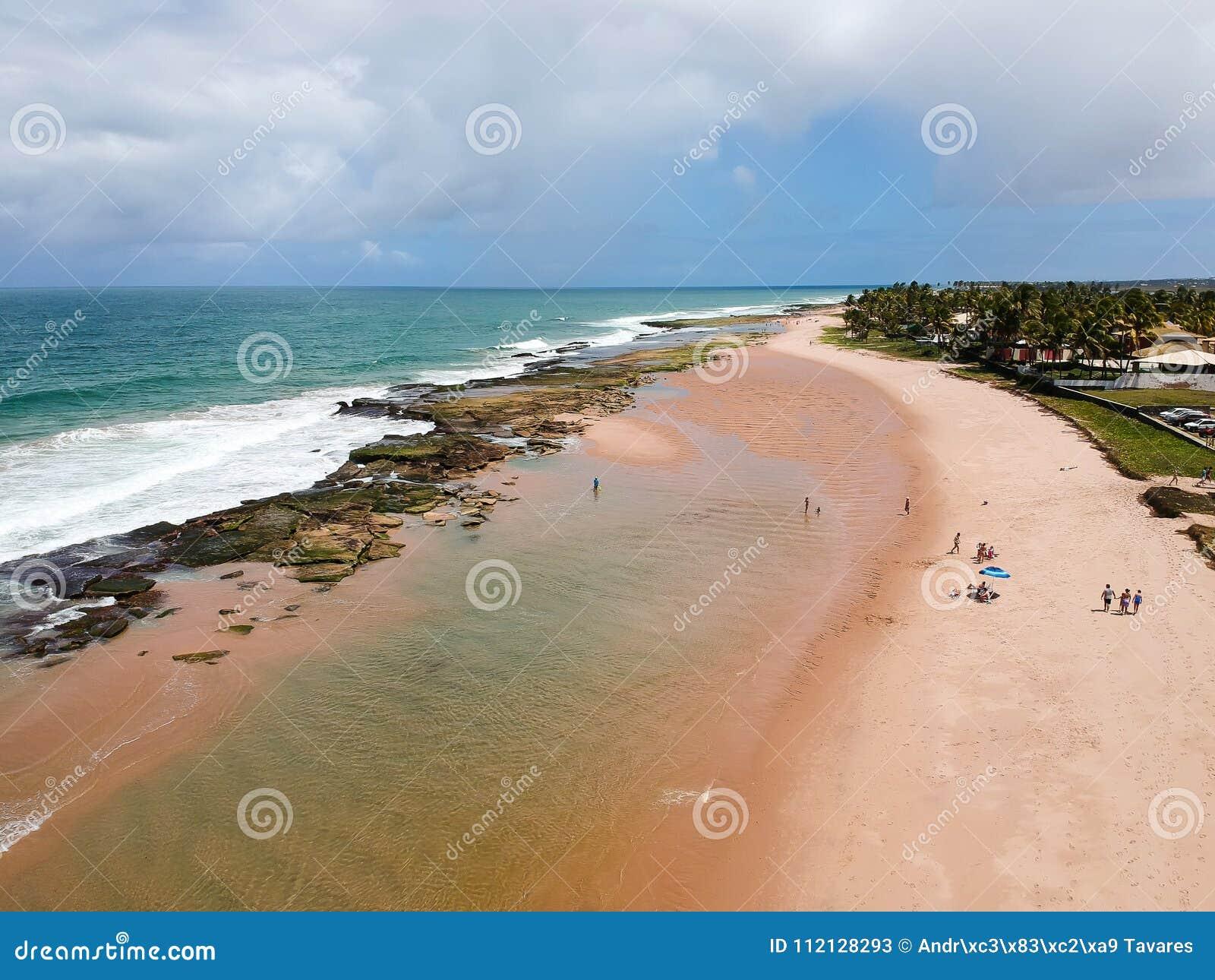 Drone view of Praia de Interlagos, Bahia, Brazil