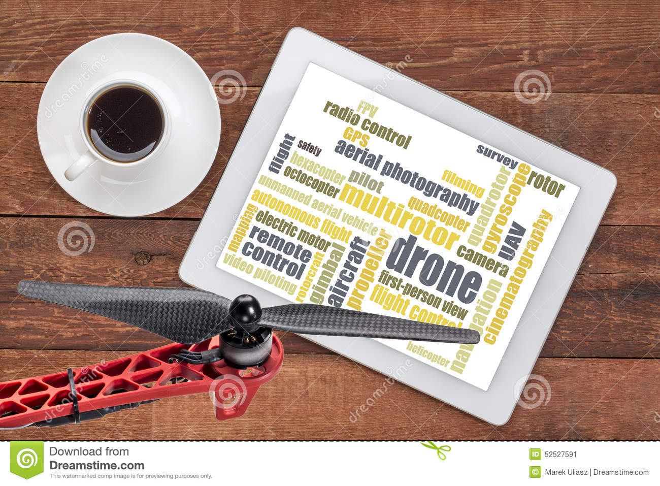 Drone word cloud on tablet