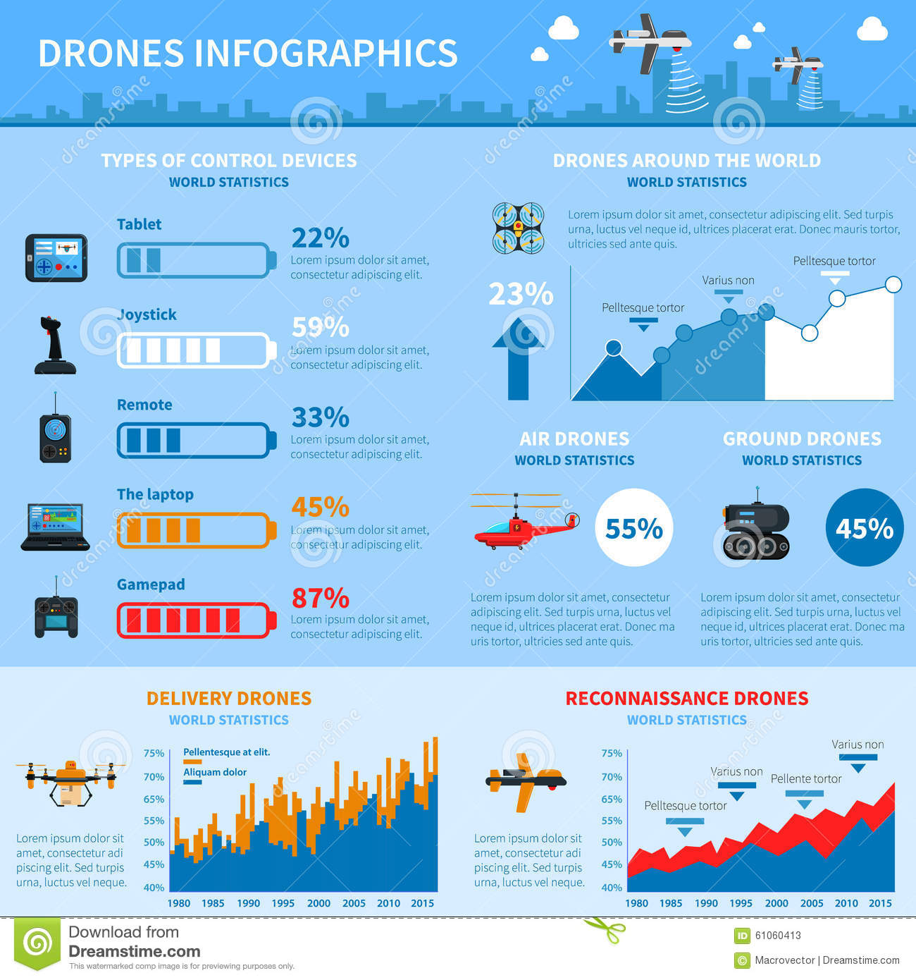 Drones Applications Infographic Chart Layout Stock Vector