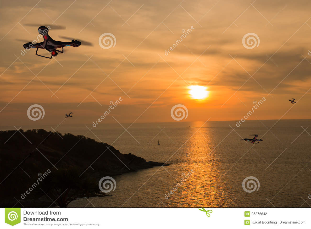 Drones with bright sky