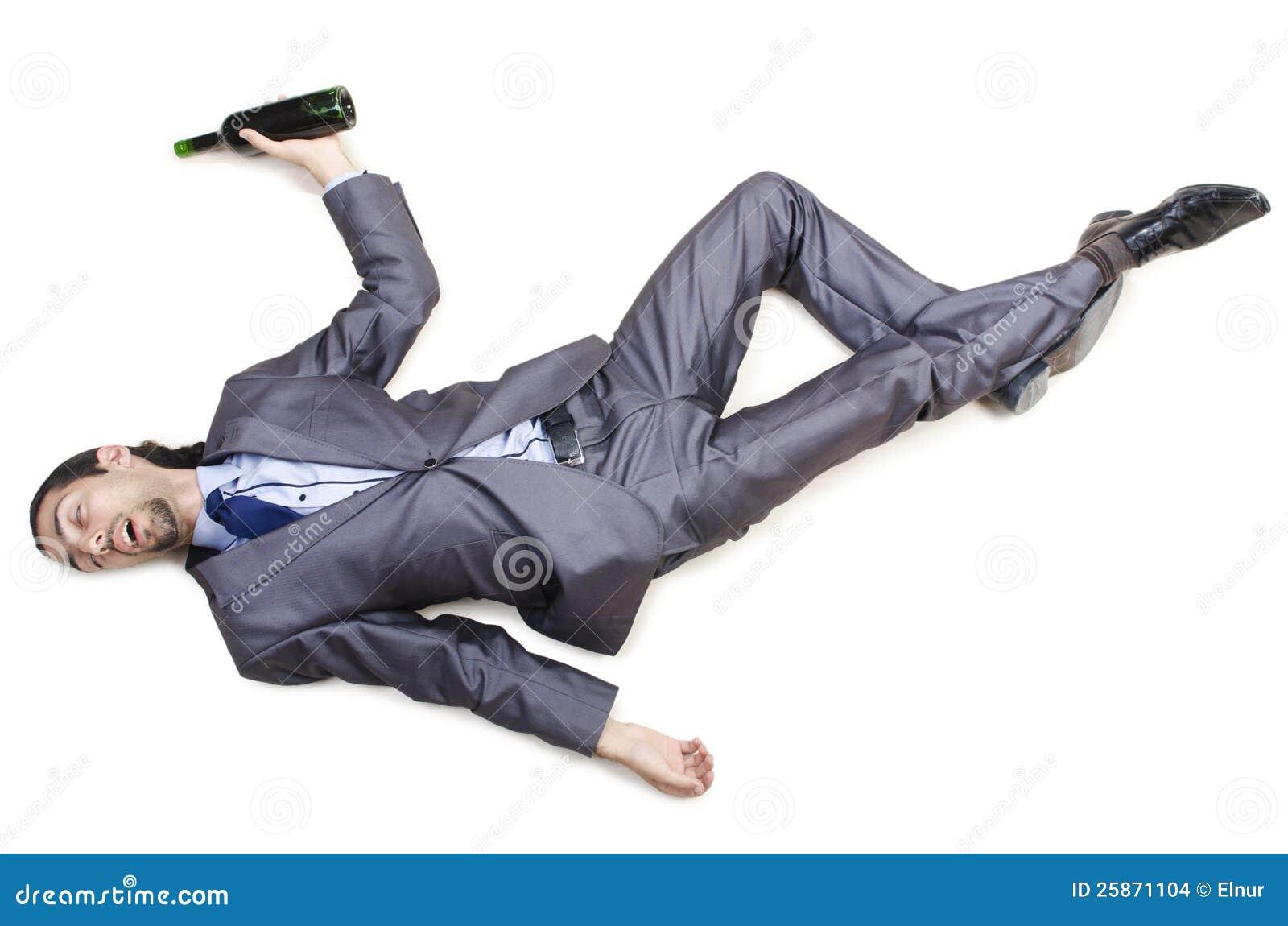 Dronken zakenman op vloer